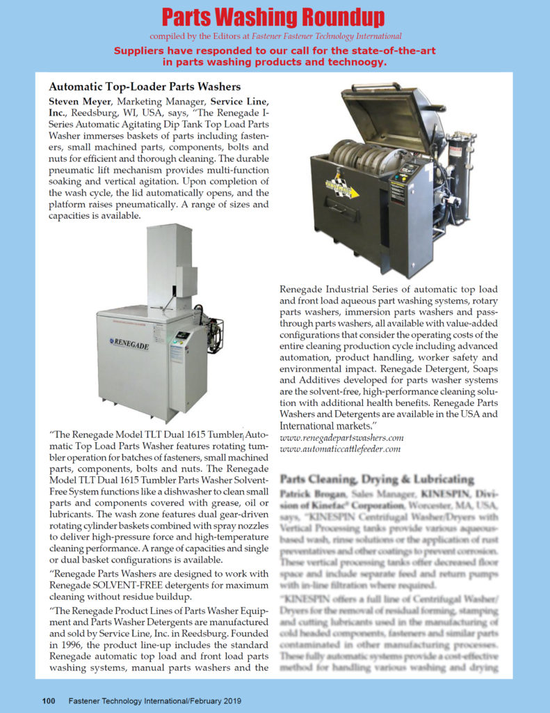 Renegade Parts Washers Article Fastener Technology International FebMar19